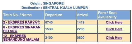 Horaire train Singapore Kuala Lumpur