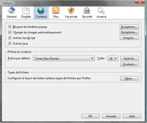 Options de Firefox Windows