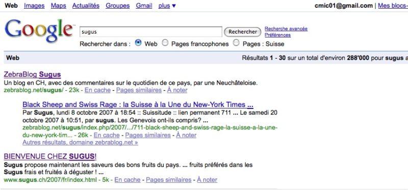 Zebrablog Sugus sur google.ch