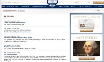 Le blog de la Maison Blanche est ouvert