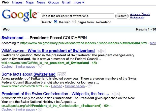 Recherche sur Google le 7 janvier 2009