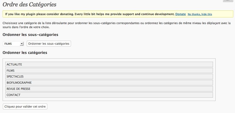 WordPress: ordre des catégories