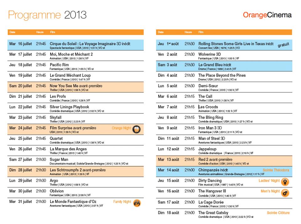 Programme Orange Cinéma - Cliquez pour agrandir
