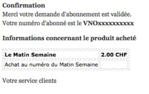 email N° 1 from Lematin.ch