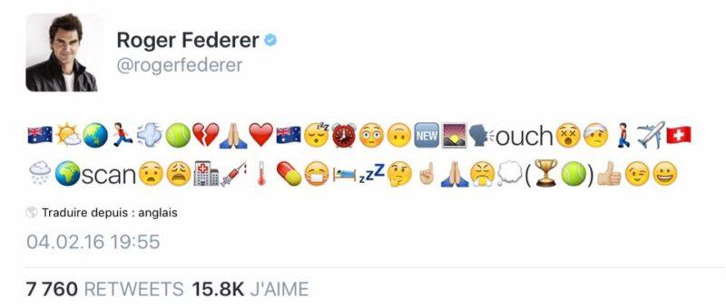 Statut Twitter de Roger Federer en emoji