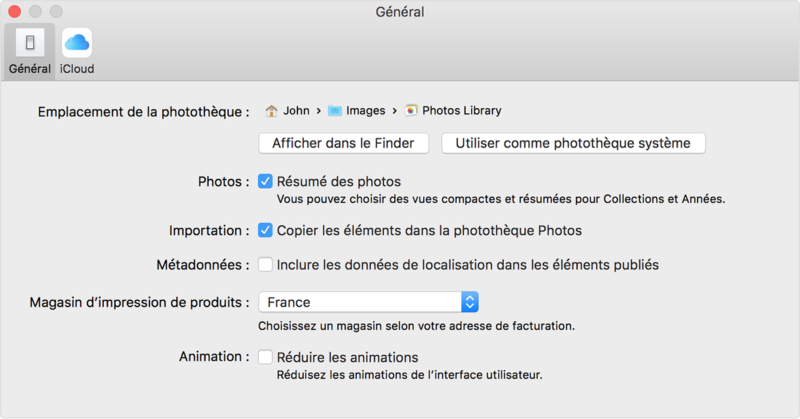 Phototheque systeme Photos Mac OS